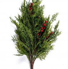 CEDAR PINE SPRAY WITH RED BERRIES, 20 IN