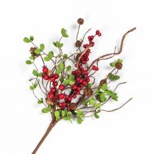 BERRY SPRAY WITH RUST BELLS & PINE CONES, HW, 17 IN, RED, CR
