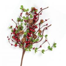 BERRY SPRAY WITH RUST BELLS & PINE CONES, HW, 17 IN, RED
