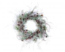 FROSTED GLITTERING TOUCH PINE WREATH ON A TWIG BASE WITH FRO