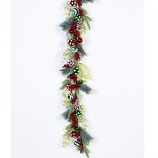 CHRISTMAS GARLAND WITH ORNAMENTS AND BERRIES, GREEN, RED, 60