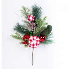 CHRISTMAS SPRAY WITH FABRIC CHECK ORNAMENTS AND BERRIES, 18